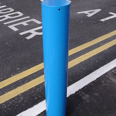 mild steel protection bollard in blue