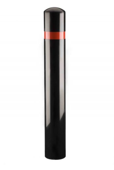 polyurethane bollard on a white background with a single red reflective band