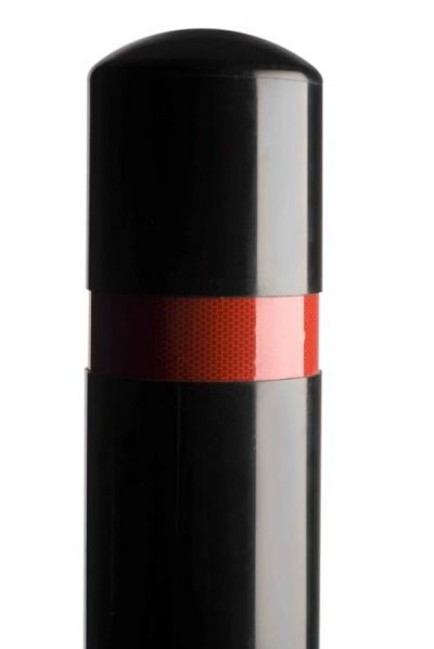 close up of the top of a polymer bollard with red reflective band