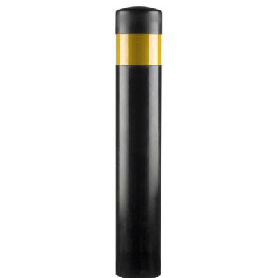 black polymerbollard on a white background with single yellow reflective band