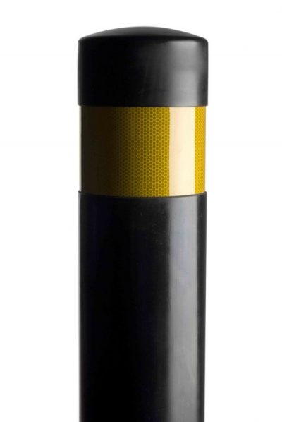 yellow reflective banded polyurethane black post against a white background