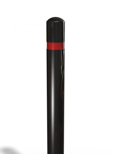 ployurethane polymer bollard in black on a white background with red banding