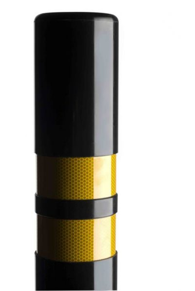 two banded polymer bollard with yellow reflective stripes