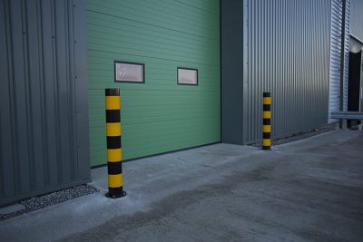 service warehouse bollards in black and yellow