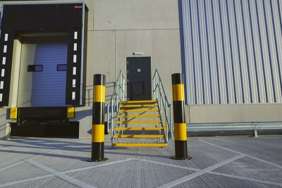service yard high visible bollards to protect building from vehicle damage