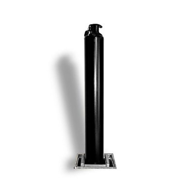 black post against a white background