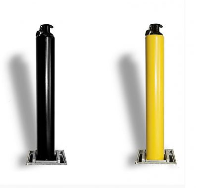 powder coated black and yellow posts
