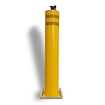 yellow mild steel bollard powder coated yellow with reflective banding