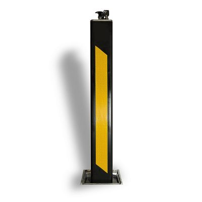 powder coated black and yellow banding bollard