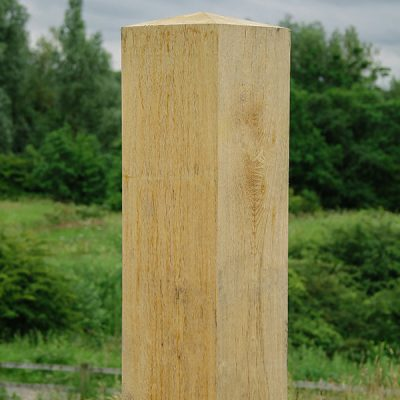 Square timber oak bollard with pyramid top