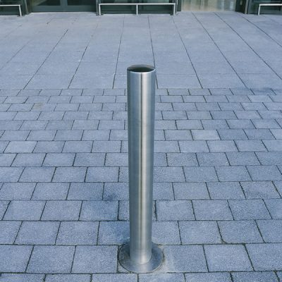 Tella stainless steel bollard installed at a shopping center