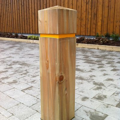 rebated timber bollard in hardwoof oak