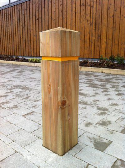 rebated timber bollard in hardwoof oak