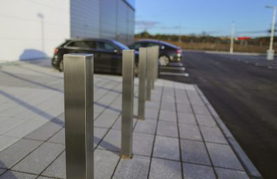 stainless steel bollards in front of a building