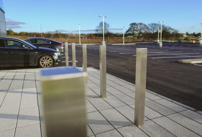 entrance are being protection of square stainless steel bollards