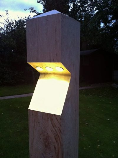 Illuminated LED timber post in the UK
