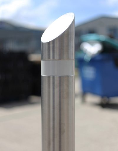 clode of up reflective banding on a stainless steel bollard