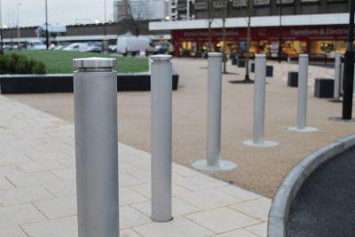 toner stainless steel bollard in an urban area