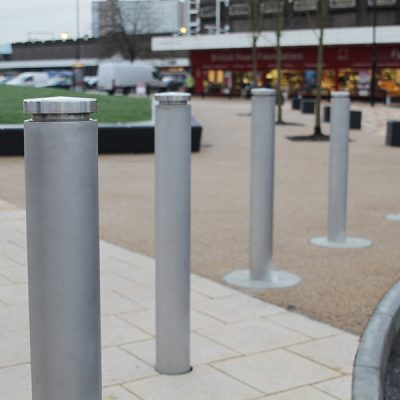 toner stainless steel bollard in an urban area
