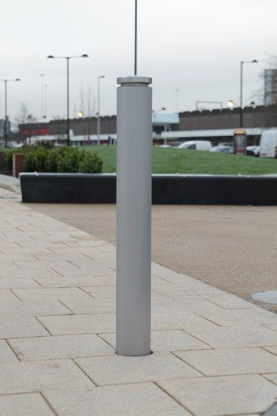 single stainless steel bollard in shot peaned and brushed satin finish