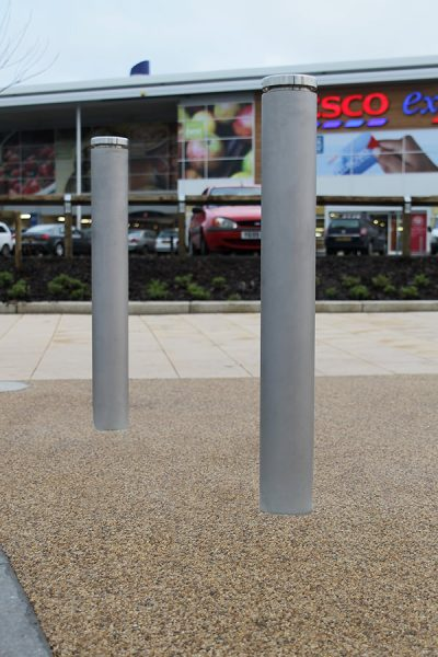 toner bollards consisting of a shot peaned stainless steel body and brushed satin finish top