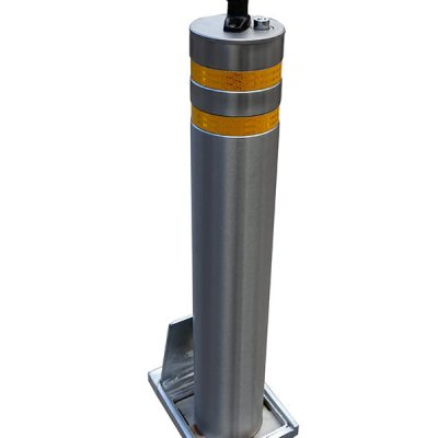 Stainless Steel telescopic bollard on a white background
