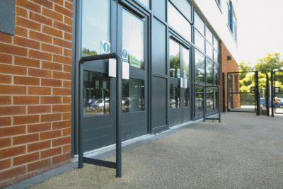school door stop unit installed in situe