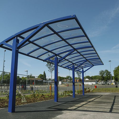 stand alone cantilever shelter installed at a school