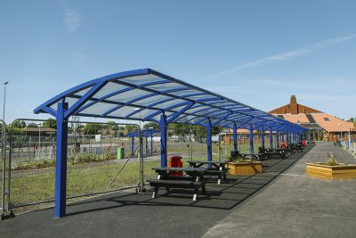 large canopy installed at a school