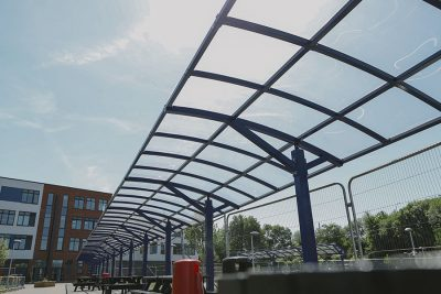 modular run of a school canopy system at a school in wigan