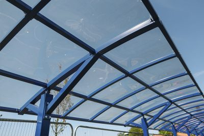 close up of school canopy glazing system