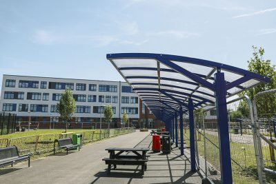 canopy shelter installed at a school for cildren to eat under