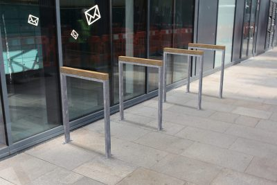 timber and steel parking cycle parking stand