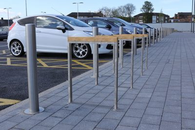bond cycle stand in a retail park