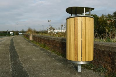stainless steel and timber bin outside on a bin
