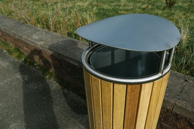 timber litter bin with stainless steel lid