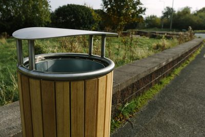 stainless steel and timber litter bin