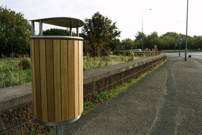 pedestal design timber and steel litter bin