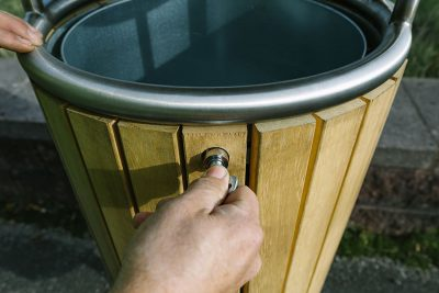 locking process of outdoor timber little bin