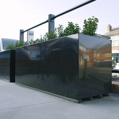 steel outdoor planter at a pub