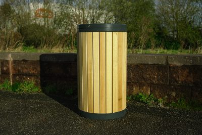 slated timber litter bin out on a path