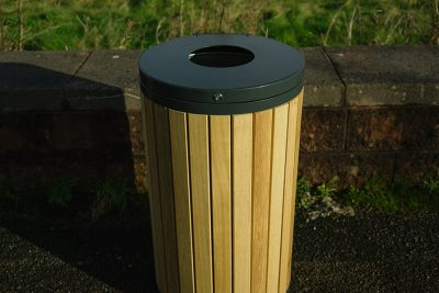 outdoor close up of timber litter bin