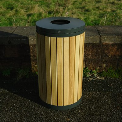 outside timber litter bin