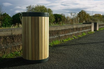 timber slated bin outside