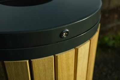 locking section of an ouside timber litter bin